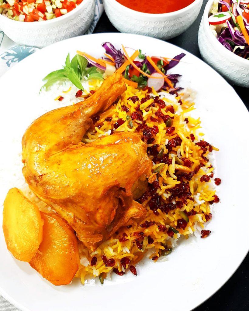 طرز تهیه چلو مرغ زعفرانی