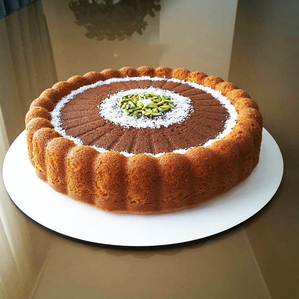 طرز تهیه کیک دو رنگ گردویی