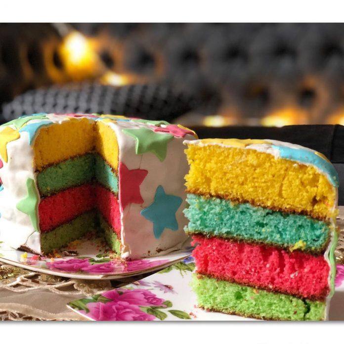 دستور پخت کیک سورپرایز رنگین کمانی